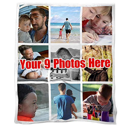 NICTIME Personalized Throw Blanket with 9 Photos Collage Customize Sofa Couch Blanket (50x60in)