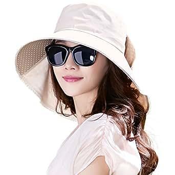 Siggi Ladies UPF50+ Cotten Sun Hats for Womens Packable Wide Brim with Neck Flaps & Chin Strap 56-58CM Beige