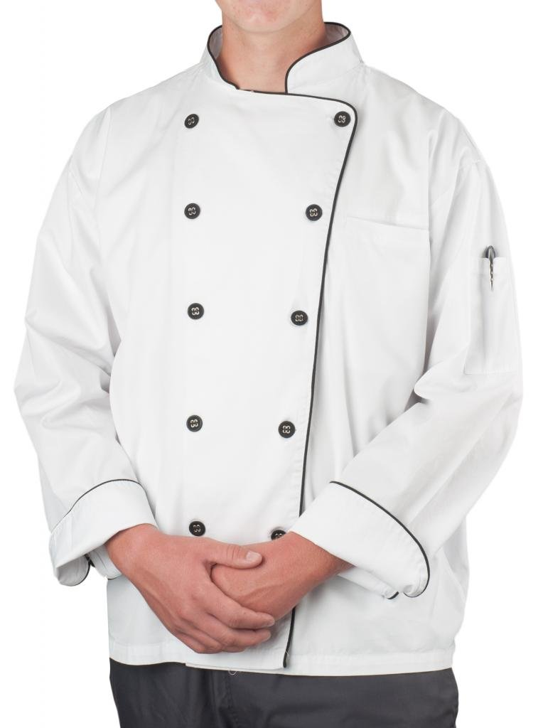 KNG Men's Wrinkle Resistant Chef Coat, White with Black Accent, XL