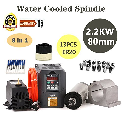 (MYSWEETY CNC Spindle Motor Kits, 2.2KW Water Cooled Spindle Motor 2.2KW Inverter + 80MM Clamp Mount +13PCS ER20 Collet + 5M Water Pipe + Water Pump for CNC Router)
