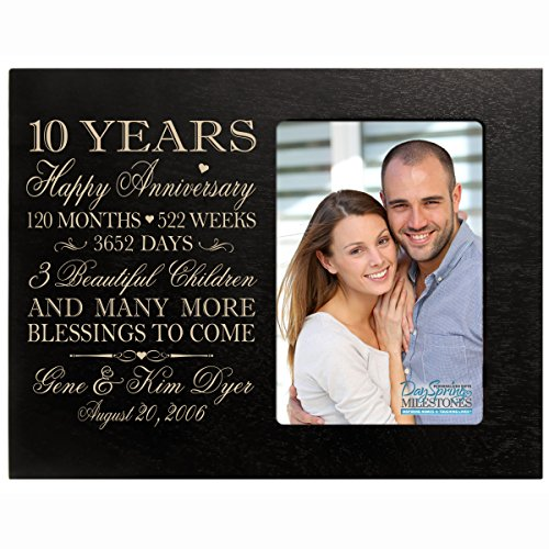 Personalized ten year anniversary gift for her him couple Custom Engraved wedding gift for husband wife girlfriend boyfriend photo frame holds 4x6 photo by DaySpring International (black)