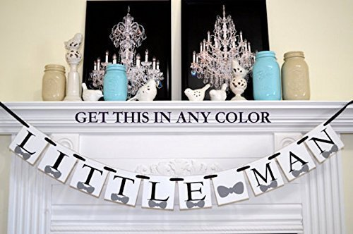 Little Man Banner Bow Tie Birthday Decoration Party