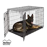 XL Dog Crate | MidWest ICrate Double Door Folding Metal Dog Crate w/ Divider Panel|XL Dog Breed, Black