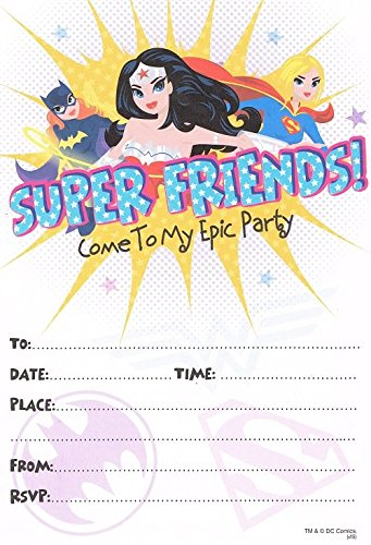Justice league wonder woman batgirl supergirl (pack of 10) party invitations]()