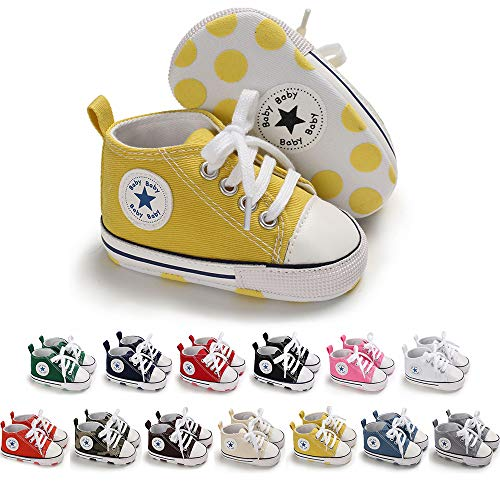 Save Beautiful Baby Girls Boys Canvas Sneakers Soft Sole High-Top Ankle Infant First Walkers Crib Shoes (12-18 Months Toddler, A09-yellow) (Yellow Baby Walker)
