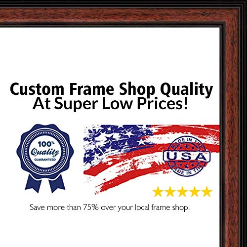 (Poster Palooza 28x40 Traditional Mahogany Wood Picture Frame - UV Acrylic, Foam Board Backing, Hanging Hardware Included!)