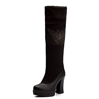 AllhqFashion Damen Ziehen auf Blend-Materialien Hoher Absatz Hoch-Spitze Stiefel, Schwarz, 35
