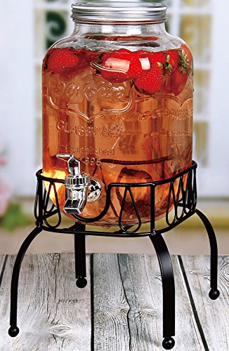 Estilo 1 Gallon Single Beverage Drink Dispenser On Metal Stand with Leak free Spigot, Clear (Stand Beverage Dispenser)