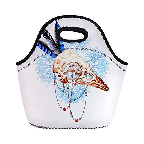 Semtomn Neoprene Lunch Tote Bag Animal Watercolor Bird Skull Feathers Mandala Beaded Threads Aztec Reusable Cooler Bags Insulated Thermal Picnic Handbag for Travel,School,Outdoors,Work ()