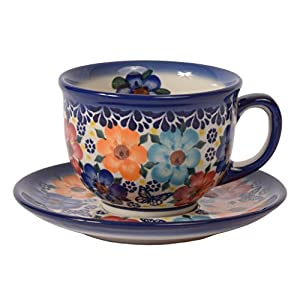 Traditional Polish Pottery, Handcrafted Ceramic Teacup and Saucer 210ml, Boleslawiec Style Pattern, F.101.Meadow