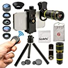 Cell Phone Camera Lens with Tripod+ Shutter Remote, Godefa 6 in 1 18x