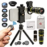 Godefa Cell Phone Camera Lens with Tripod+ Shutter Remote,6 in 1 18x Telephoto Zoom Lens/Wide Angle/Macro/ Fisheye/Kaleidoscope/CPL, Clip-On lense Compatible for iPhone 8 7 6s Plus, Samsung and Other
