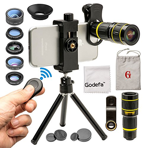 Lens Majestic - Godefa Cell Phone Camera Lens with Tripod+ Shutter Remote,6 in 1 18x Telephoto Zoom Lens/Wide Angle/Macro/Fisheye/Kaleidoscope/CPL, Clip-On lense Compatible for iPhone X 8 7 6s Plus, Samsung and More