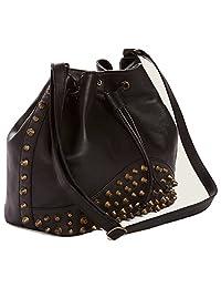 True Religion Women's Bucket Leather Bag Purse in Black