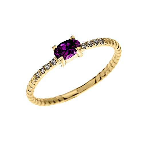 Dainty 10k Yellow Gold Diamond and Solitaire Oval Amethyst Rope Design Stackable Proposal Ring