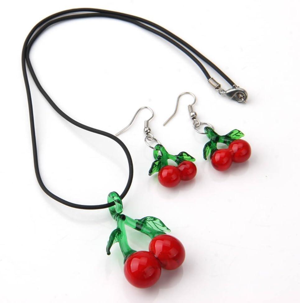 Skyllc 10 x Joyería Set Collar Pendientes con Rojo + Verde Fruta Cereza en Forma de Piedra Azure Cristal Glaze Colgante