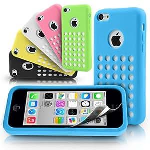 Caja colorida del Thin Soft Gel de silicona Dot Agujero Ultra Para la Opción iPhone 5C: Negro
