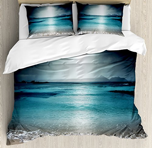 Ambesonne Tropical Duvet Cover Set King Size, Storm Sky on The Beach of La Dugue Island Seychelles Dramatic Scene, Decorative 3 Piece Bedding Set with 2 Pillow Shams, Dark and Petrol Blue Tan