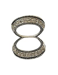 Winuxury Women's Elegant Double Circles Ring Rhinestone Scarf Buckle Antique Silde Scarves Clip