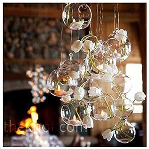 24 Pieces of Glass Candle Holders Wedding Decoration Wedding Idea Tealight Holders Air Plant Terrarium Decor (8cm)