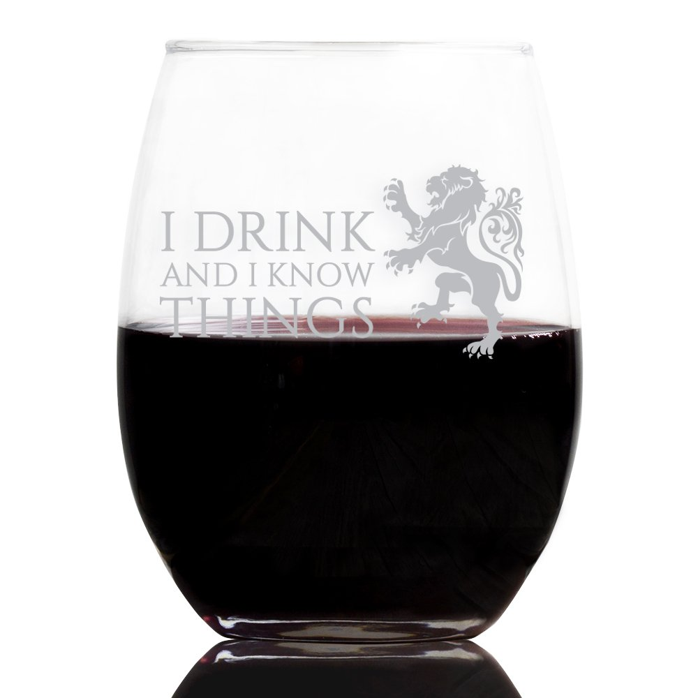 I Drink and I Know Things 21 Oz Stemless Wine Glass, White Printed Lion Design, Birthday Girl Wine Glass