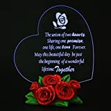 Giftgarden LED Wedding Cake Toppers Heart with Rose Decor Gifts for Couple, Engagement Gift, Valentines Gift, Anniversary Gifts