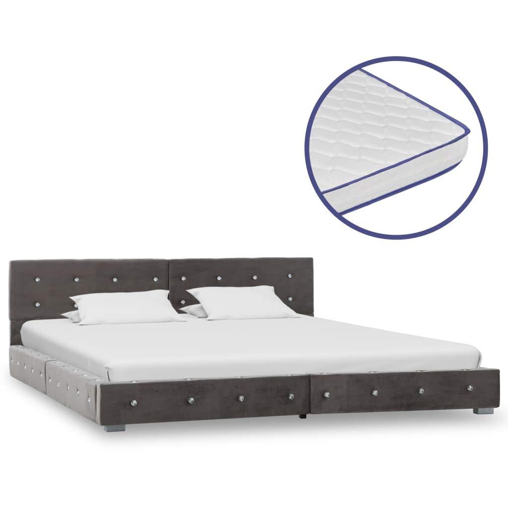 Festnight Bett mit Memory-Schaum-Matratze Bettgestell mit Lattenrost Bettrahmen Bett Doppelbett Bett Bettrahmen Bett Grau Samt 180x200cm