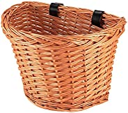 FreeLeben Bike Basket Front Handlebar Wicker Bike Basket Hand-Woven Adjustable Belt