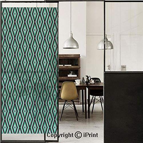 Teal and White 3D Decorative Film Privacy Window Film No Glue,Frosted Film Decorative,Abstract Geometric Minimalists Design Retro Diamond Line Decorative,for Home&Office,23.6x59Inch Sea Green Baby Blu
