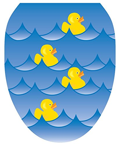 Toilet Tattoos TT-4001-O Rubber Ducky Blue Decorative Applique for Toilet Lid, Elongated
