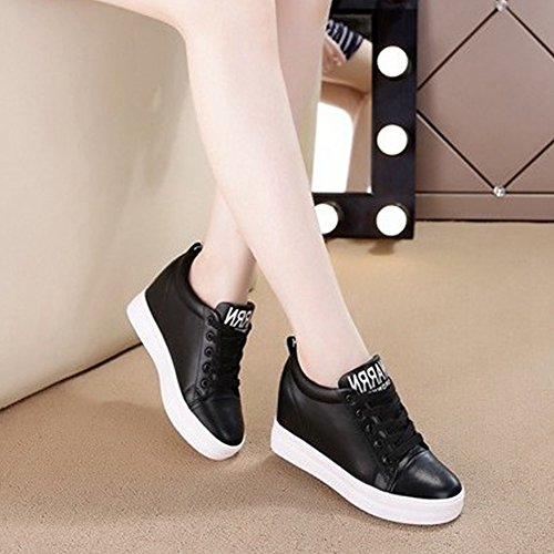 GIY Womens High Top Wedge Platform Sneaker Boot - Sports Round Toe Increased Height Hidden Heel Shoes Black vBmih