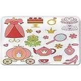 Memory Foam Bath Mat,Kids Decor,Princess Tiara Tea Party Mirror Teapot Tea Party Frog Crown Fairy Cupcake Girls DecorativePlush Wanderlust Bathroom Decor Mat Rug Carpet with Anti-Slip Backing,