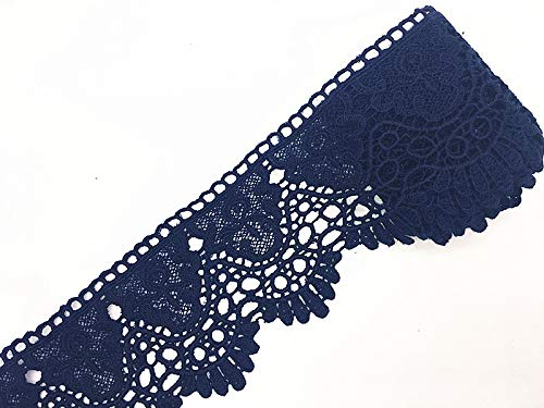 - 9CM Width Europe Crown Pattern Inelastic Embroidery Lace Trim,Curtain Tablecloth Slipcover Bridal DIY Clothing/Accessories.(4 Yards in one Package) (Navy Blue)