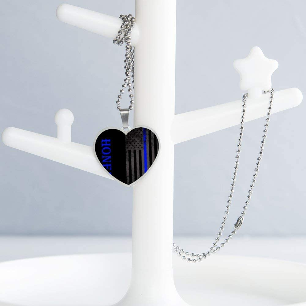 Thin Blue Line American Flag 2 Necklace Personalized Engraved Heart Custom Gift Pendant-Valentines Day Love
