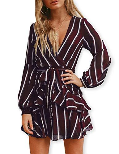 AOOKSMERY Women Sexy Strips Ruffles V-Neck Long Sleeve Empire Waist Short Dress with Belt (Wine, Large)