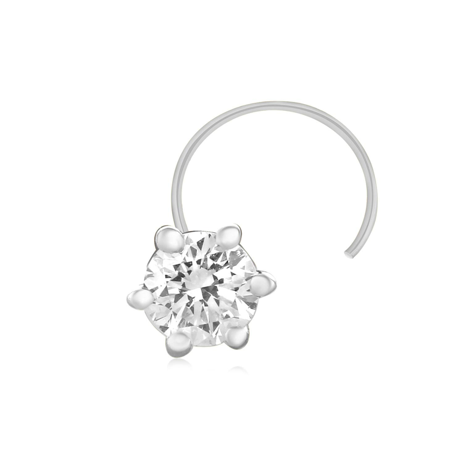 925 Solid Sterling Silver Real Natural Diamond Nose Stud Ring Pin 0.12 Ct