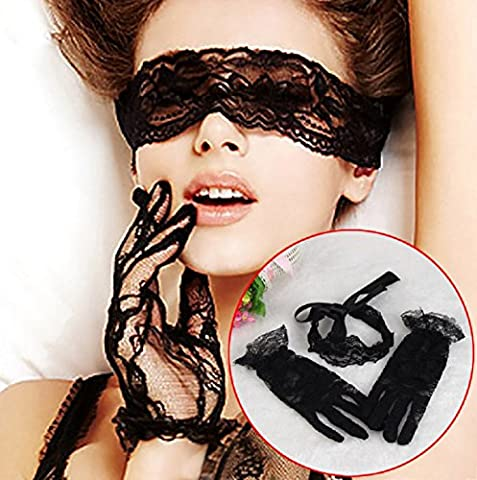 Vovotrade Sexy Lace Mask With Lure Gloves Lace Suit Three Pieces Suit