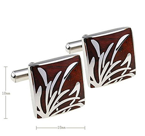 Bamboo Cufflinks (MAOFA 1 Pairs of stainless steel and mahogany bamboo shape Classic Cufflinks for your friends Gifts)
