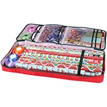 """Primode Wrapping Paper Storage Bag with Pockets   Long Gift Wrap Storage Container (37"""" x 14"""" x 4"""") (Red)"""