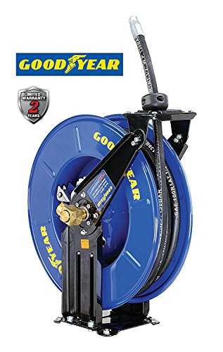 - GOODYEAR Oil Hose Reel Retractable Spring Driven Steel Construction Elite Heavy Duty Industrial Dual Arm and Pedestal 1/2