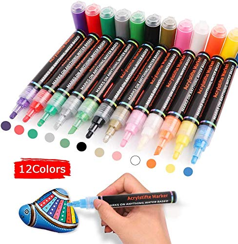 MingNor Acrylic Paint Marker Set of 12 Colors Permanent Water Based Paint Pen for Rocks Painting, Ceramic, Glass, Wood, Fabric, Canvas, Mugs,Photo Album, DIY Craft, Scrapbooking Craft (Tip 3-5mm)