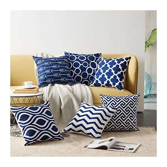 Top Finel Accent Decorative Throw Pillow Covers Durable Canvas Outdoor Throw Pillow Covers 20 X 20 for Couch Bedroom, Set of 6, Navy - SUPER PLUSH MATERIAL & SIZE: Made of durable canvas, comfortable to touch and lay on. 20 X 20 Inch per pack, included 6 packs per set, NO PILLOW INSERTS. WORKMANSHIP: Delicate hidden zipper closure was designed to meet an elegant look. Tight zigzag over-lock stitches to avoid fraying and ripping. NO PECULIAR SMELL: Because of using environmental and high quality canvas fabric,our throw pillow cases are the perfect choice for those suffering from asthma, allergen, and other respiratory issues. - patio, outdoor-throw-pillows, outdoor-decor - 51TPweUx pL. SS570  -