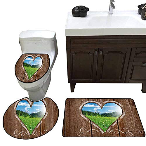 (3 Piece Toilet lid Cover mat Set Outhouse Heart Window View from Wooden Rustic Farm Barn Shed with Chalk Art Image 3 Piece Shower Mat Set Brown Blue and Green)