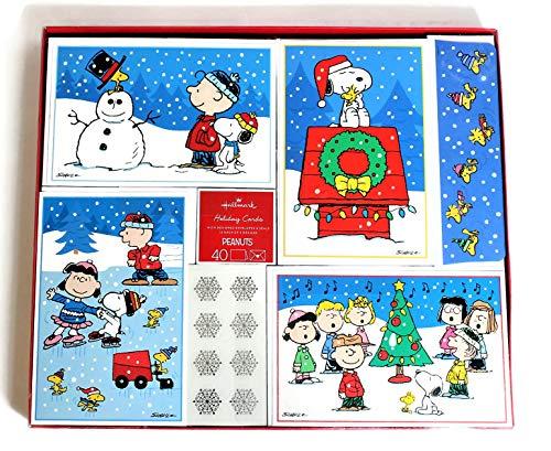 (Hallmark 40 Bulk Set Christmas Holiday Cards with Matching Self Sealing Envelopes and Silver Foil Snowflake Seals, 4 Designs 10 Each, Peanuts Gang Having Fun During Christmas Time (Peanuts))