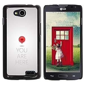 TopCaseStore / la caja del caucho duro de la cubierta de protección de la piel - Love Map Art Quote Heart Symbol Red - LG OPTIMUS L90 / D415