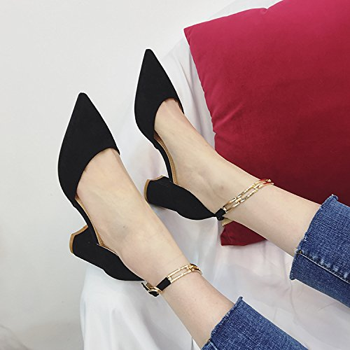 HGTYU With The Rough High-Heeled Shoes Fashion Shoes All-Match Metal Buckle Shallow Mouth Single Shoes Pointed Thick With Ms. Thirty-seven C0tzfi