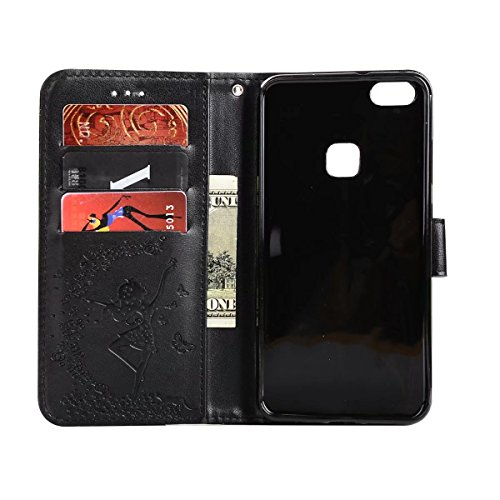 Wkae Detachable 2 in 1 Crazy Horse Texture PU Leather Case, Fairy Girl Embossed Pattern Flip Stand Case Pouch Cover with Lanyard & Card Cash Slots for Huawei P10 Lite (Color : Rosegold) Black