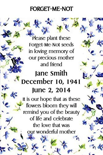 Packets Me Forget Seed Not (Memorial Funeral Forget-Me-Not Seed Packets Set of 100)