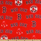 MLB Fleece Boston Red Sox Allover Red Fabric By The Yard