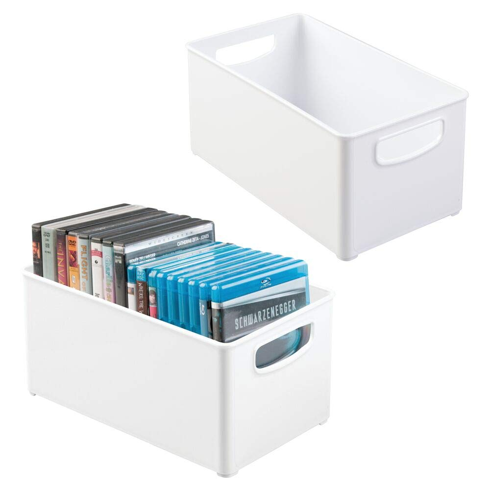 mDesign Plastic Stackable Household Storage Organizer Container Bin Box with Handles - for Media Consoles, Closets, Cabinets - Holds DVD's, Video Games, Gaming Accessories, Head Sets, 2 Pack - White by mDesign